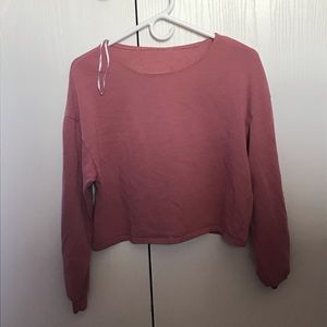 dusty pink long sleeve crop top